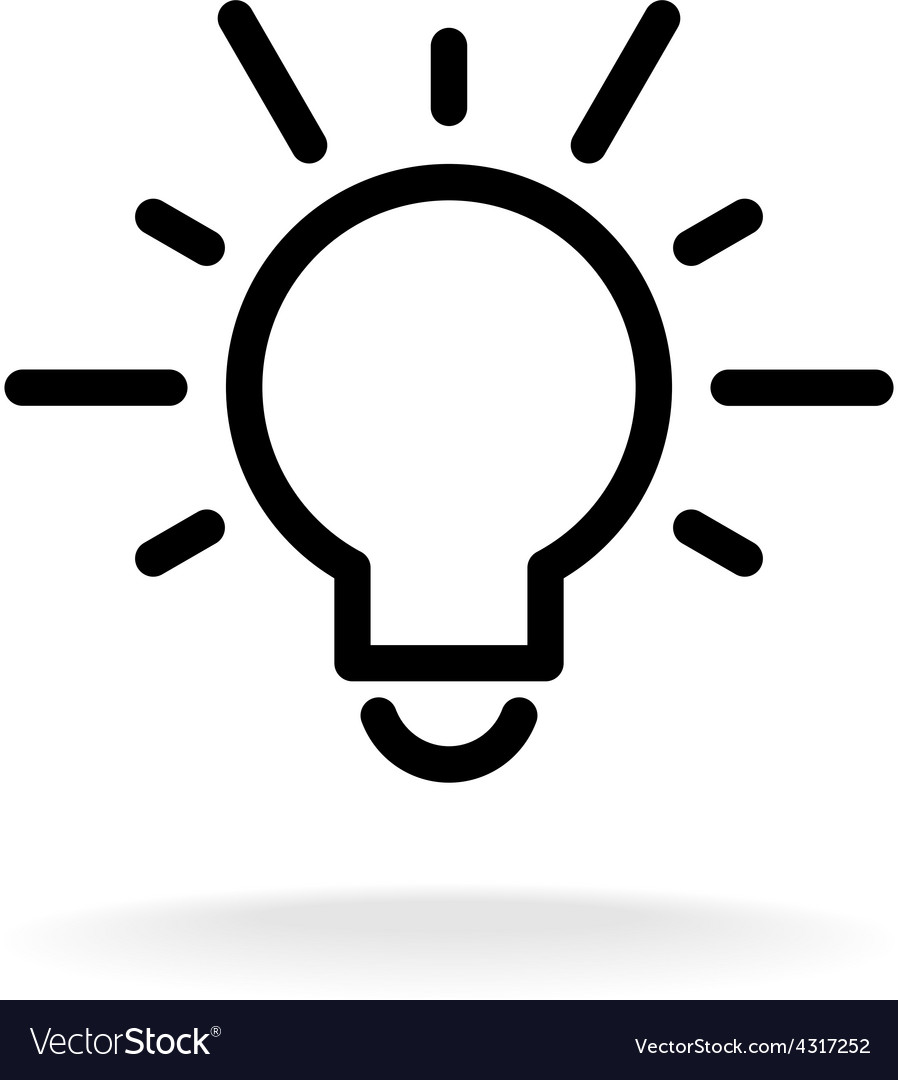 Lamp bulb flat icon with light rays black outline vector | Price: 1 Credit (USD $1)