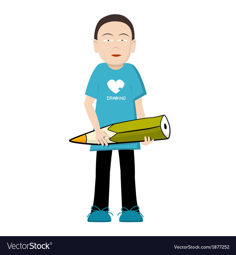 Man with pencil vector | Price: 1 Credit (USD $1)