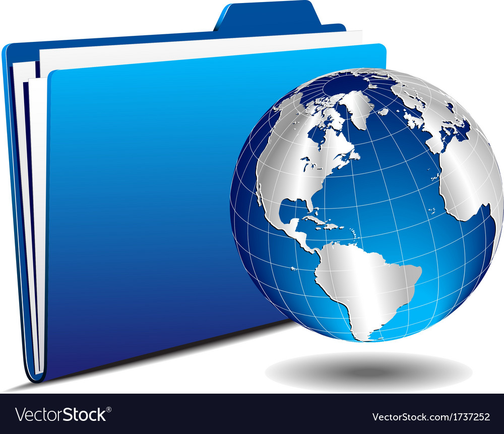Silver earth globe with folder vector | Price: 1 Credit (USD $1)