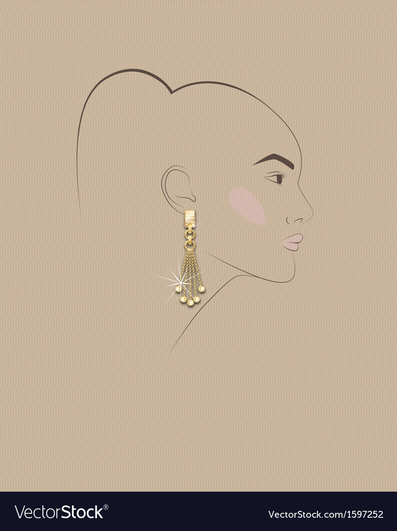 Sketch of girls head with earring in his ear vector | Price: 1 Credit (USD $1)