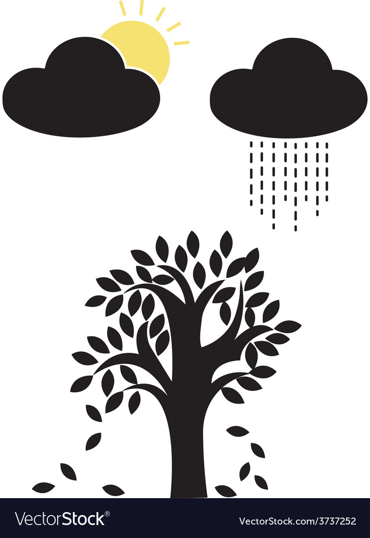 Sun and rain with tree vector | Price: 1 Credit (USD $1)