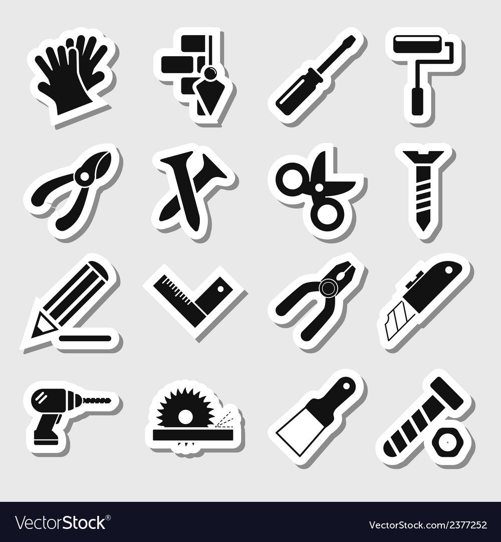 Tools icons as labels vol 2 vector | Price: 1 Credit (USD $1)