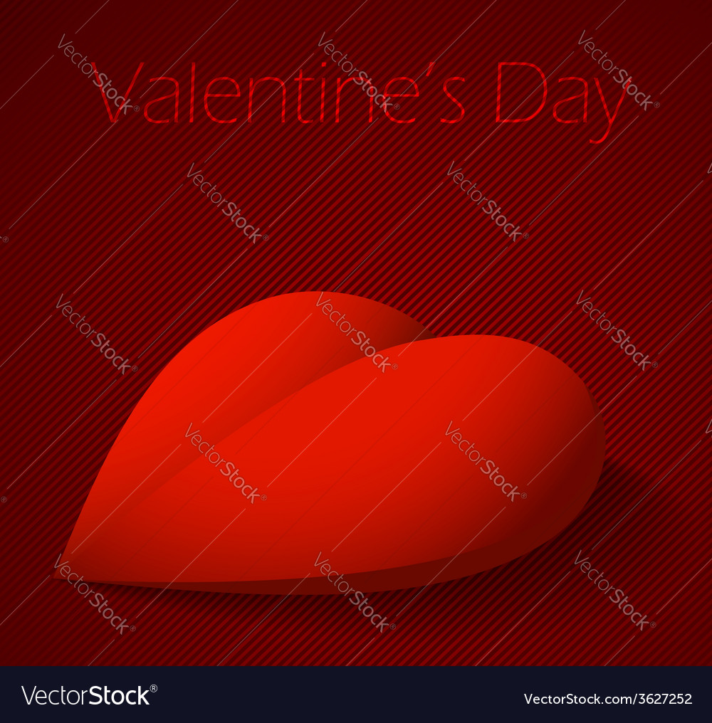 Valentines day background with large red heart vector | Price: 1 Credit (USD $1)
