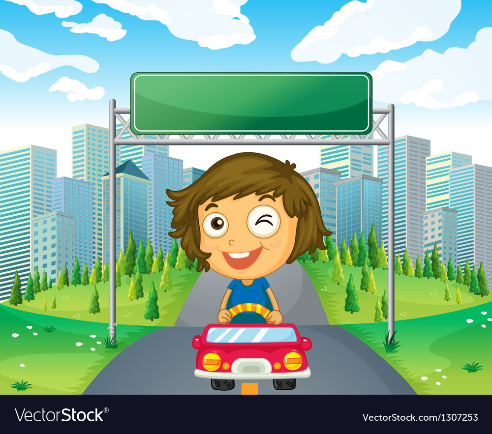 A girl in her car below an empty signage vector | Price: 1 Credit (USD $1)