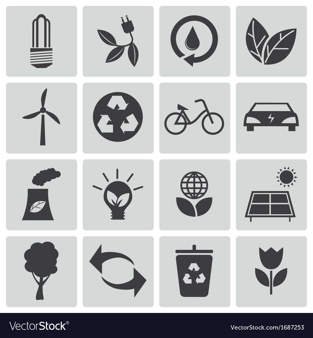 Black eco icons set vector | Price: 1 Credit (USD $1)