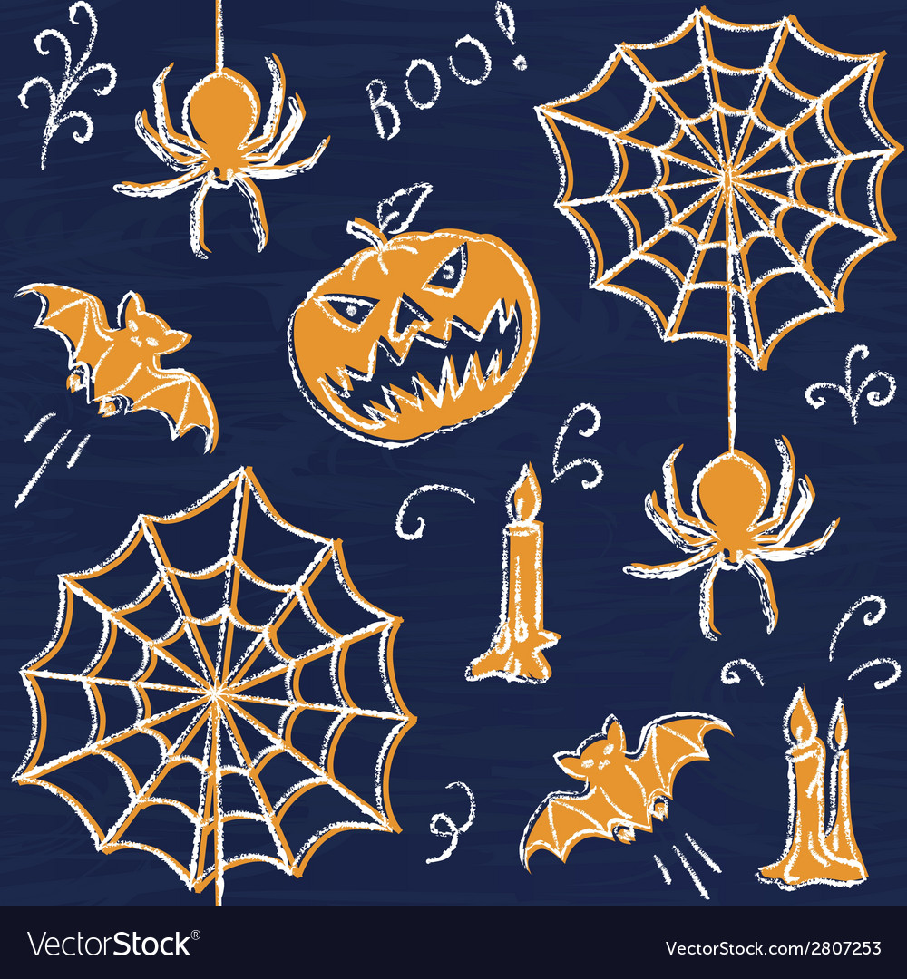 Chalkboard halloween seamless pattern vector | Price: 1 Credit (USD $1)