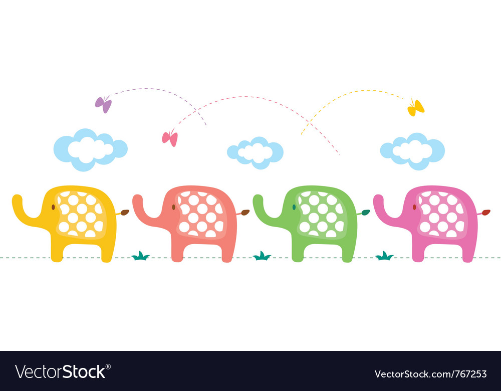 Cute elephants background vector | Price: 1 Credit (USD $1)