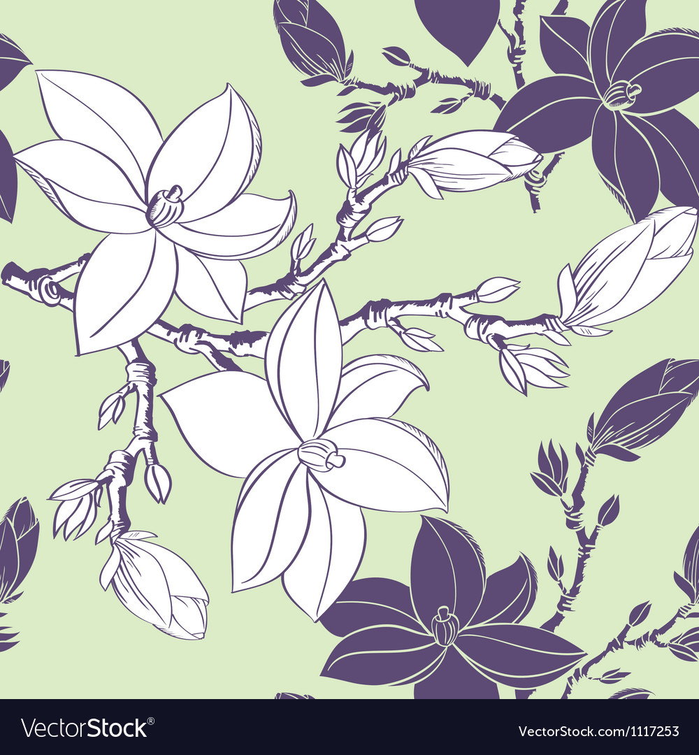 Floral seamless pattern with drawing magnolia vector | Price: 1 Credit (USD $1)