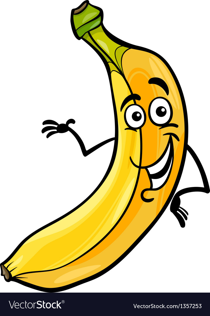 Funny banana fruit cartoon vector | Price: 1 Credit (USD $1)