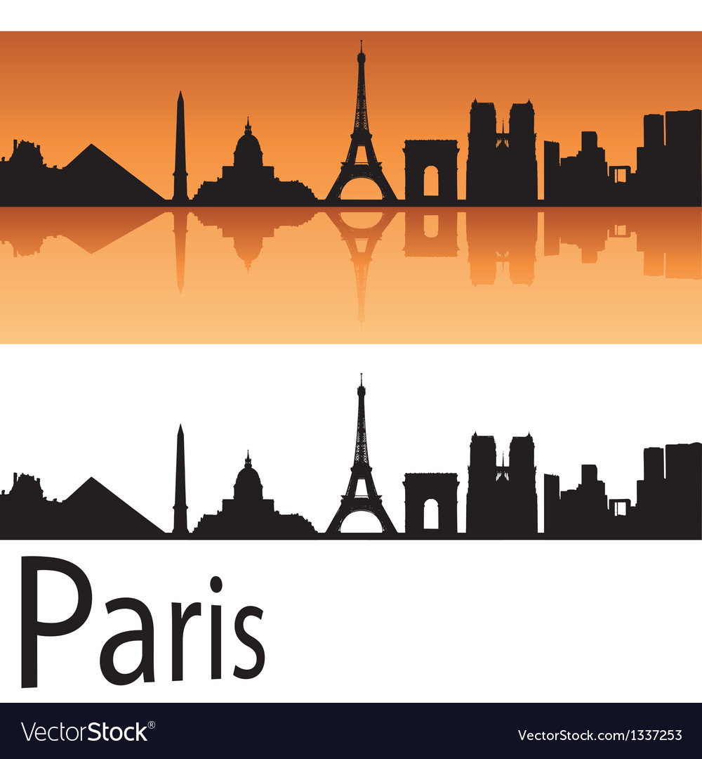 Paris skyline in orange background vector | Price: 1 Credit (USD $1)