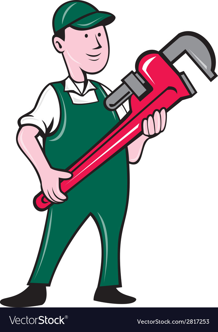 Plumber holding monkey wrench cartoon vector | Price: 1 Credit (USD $1)