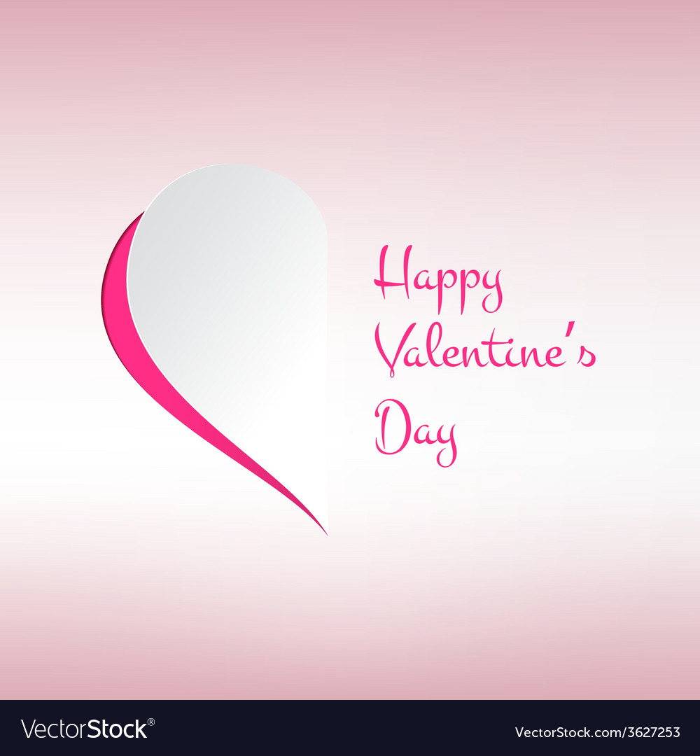 Valentines card with stylish half heart on light vector | Price: 1 Credit (USD $1)