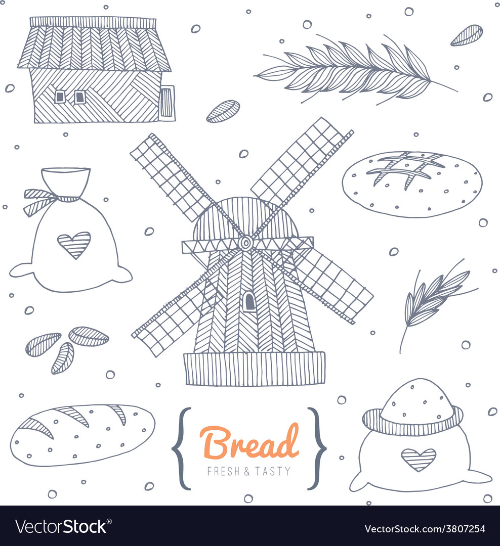 Bakery doodle set vector | Price: 1 Credit (USD $1)