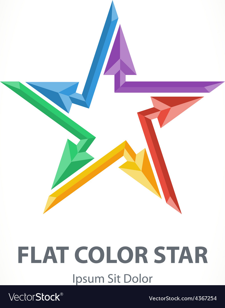 Flat color 3d star logo with arrows colorful vector | Price: 1 Credit (USD $1)