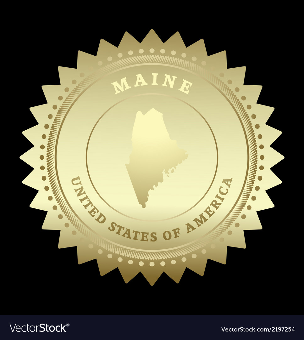Gold star label maine vector | Price: 1 Credit (USD $1)