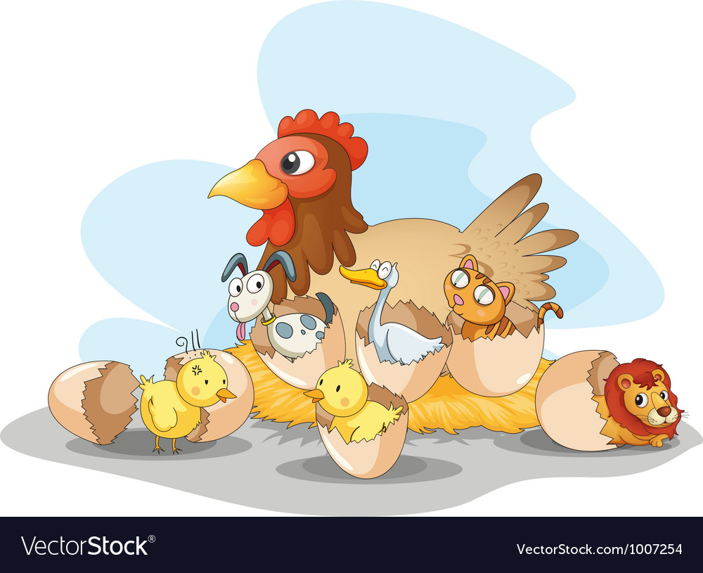 Hen and animals vector | Price: 3 Credit (USD $3)