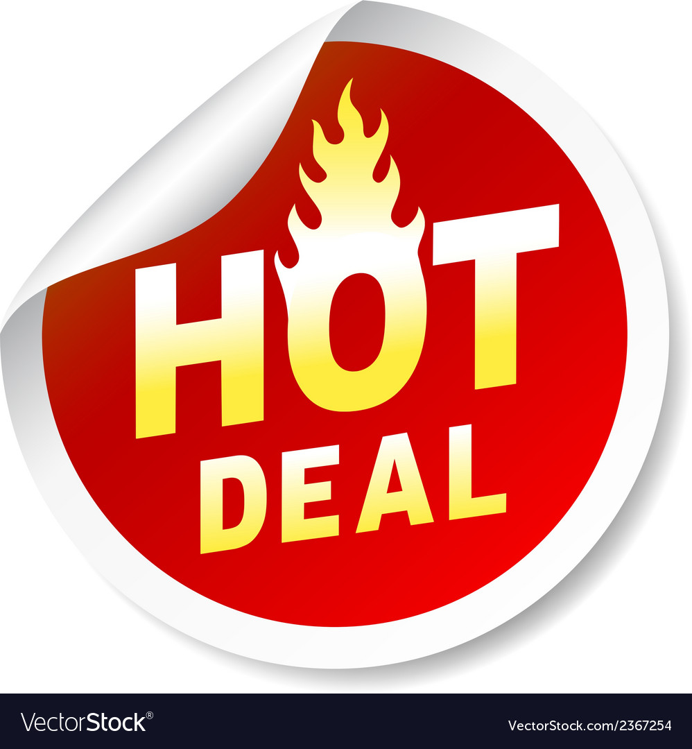 Hot deal sticker badge with flame vector | Price: 1 Credit (USD $1)