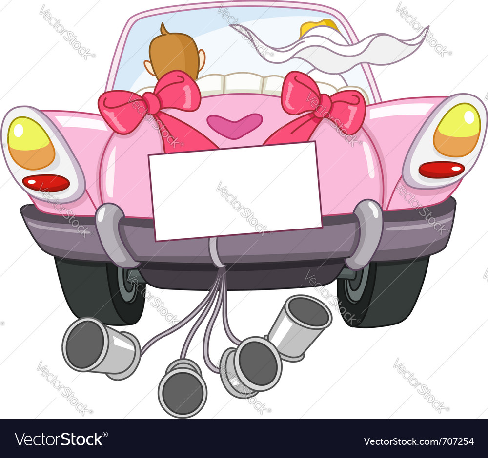 Just married car vector | Price: 3 Credit (USD $3)
