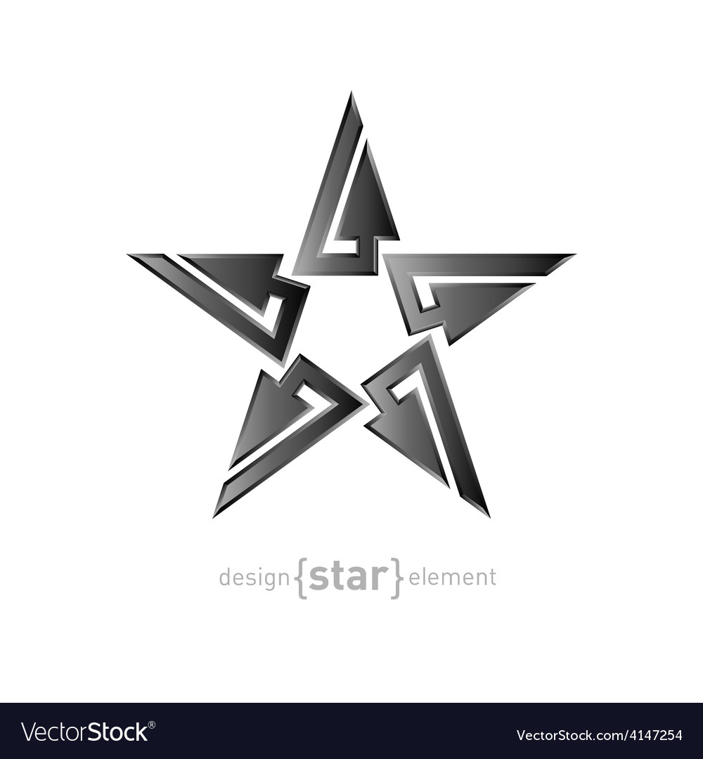 Metal abstract star on white background vector | Price: 1 Credit (USD $1)