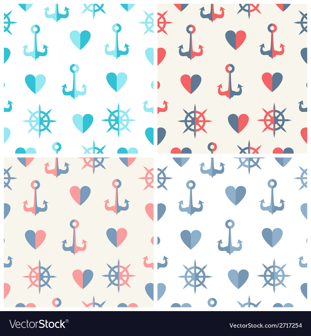 Navy seamless patterns set anchor steering wheels vector | Price: 1 Credit (USD $1)