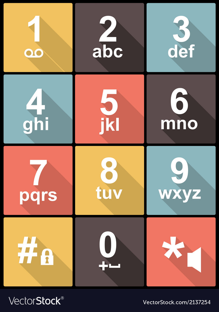 Phone keypad in flat design for web and mobile vector | Price: 1 Credit (USD $1)