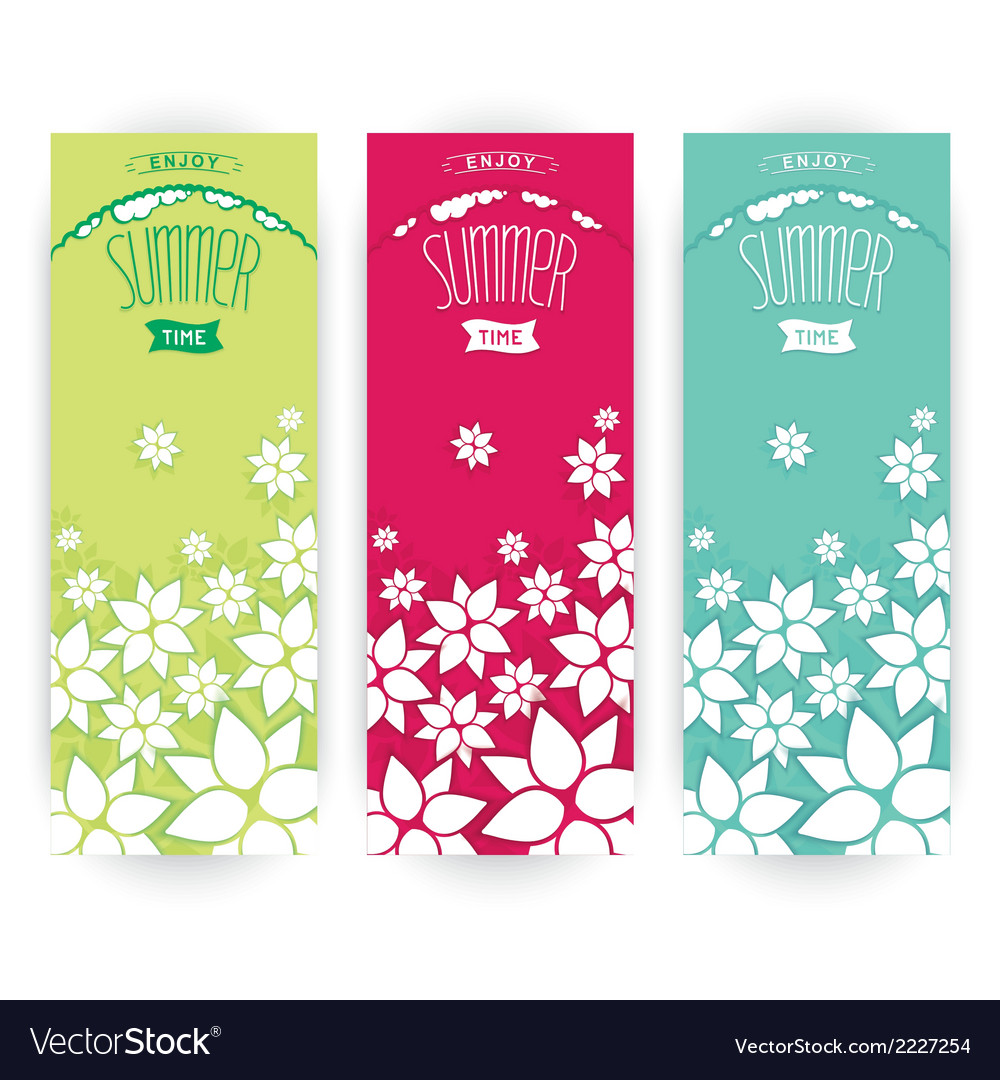 Set flowers summer banner vector | Price: 1 Credit (USD $1)