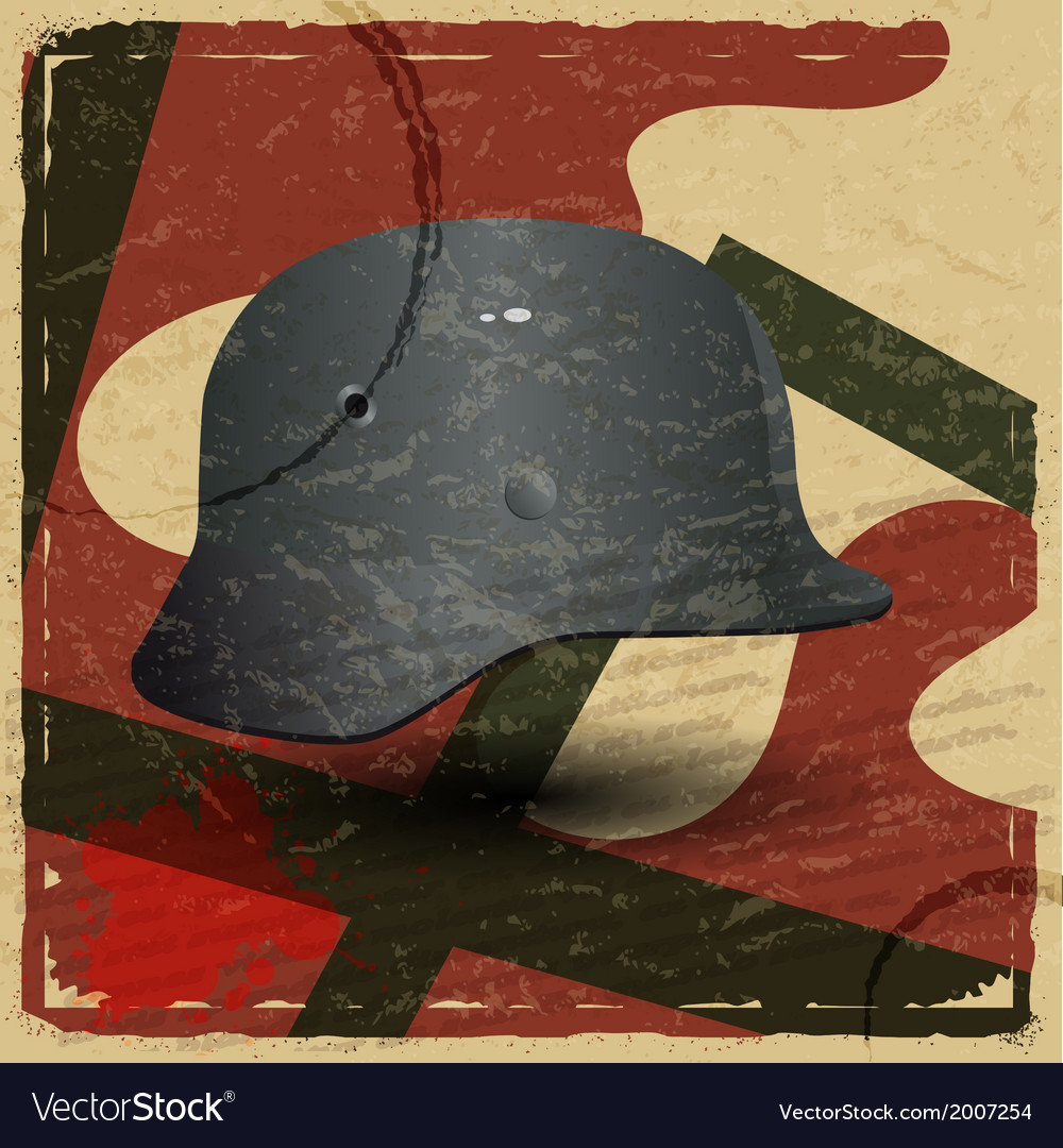 Vintage card with fascist military helmet vector | Price: 1 Credit (USD $1)