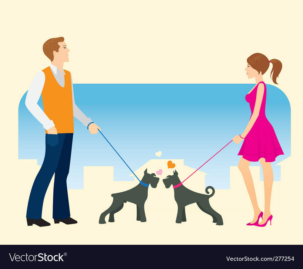 Walking the dog vector | Price: 1 Credit (USD $1)