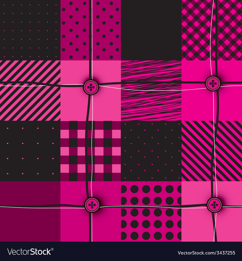 Checkered magenta patchwork vector | Price: 1 Credit (USD $1)