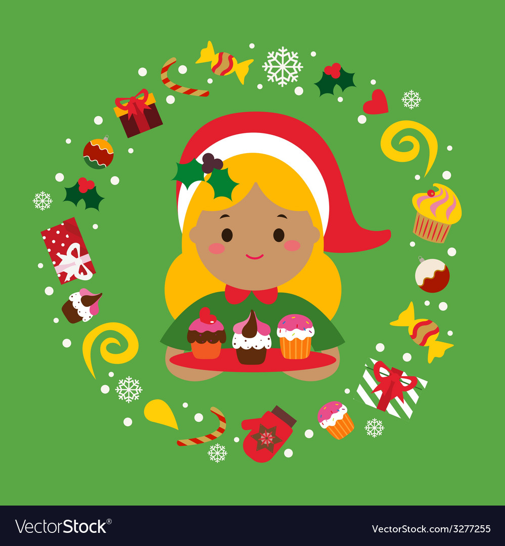 Christmas holiday print with cute girl and sweets vector | Price: 1 Credit (USD $1)
