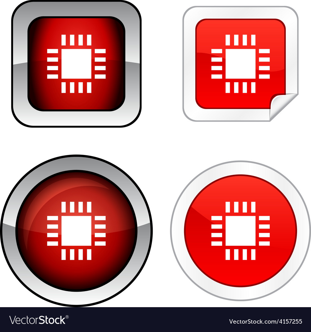 Cpu button set vector | Price: 1 Credit (USD $1)