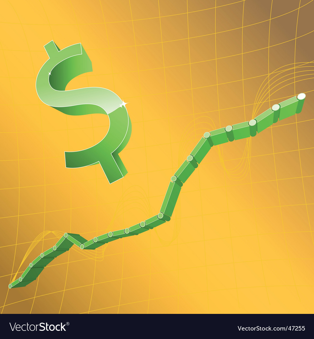 Dollar and graph vector | Price: 1 Credit (USD $1)