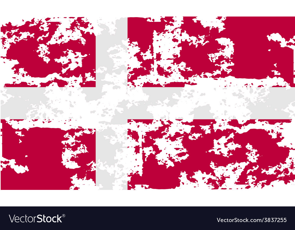 Flag of denmark with old texture vector | Price: 1 Credit (USD $1)