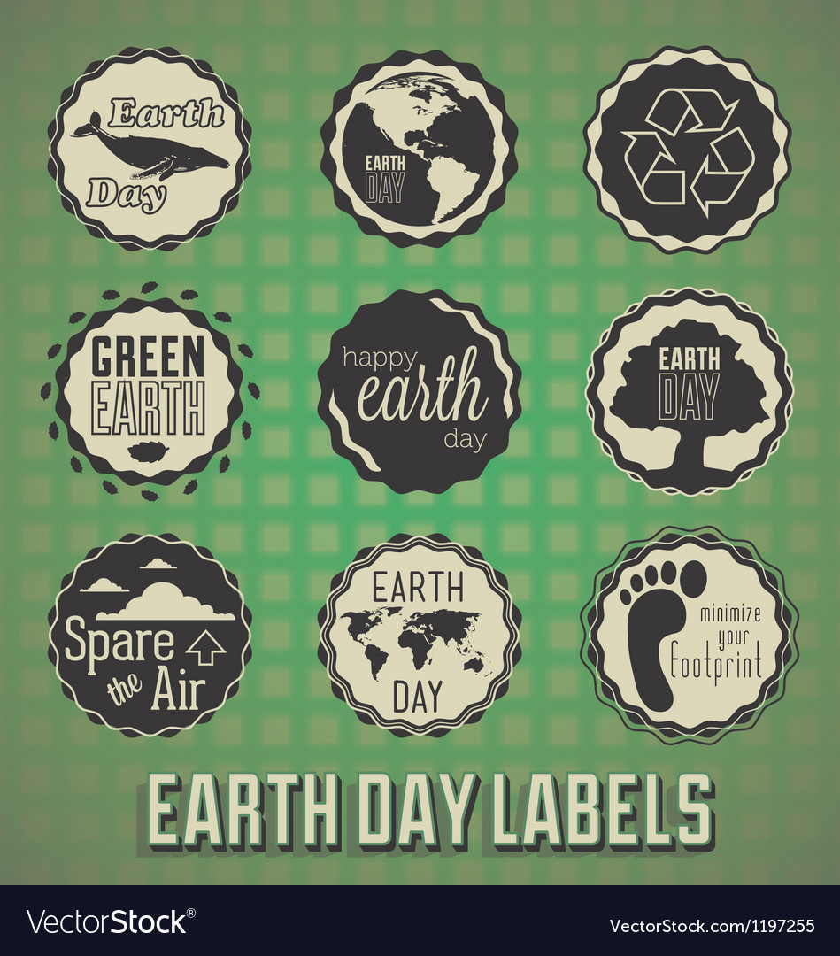 Happy earth day labels vector | Price: 1 Credit (USD $1)