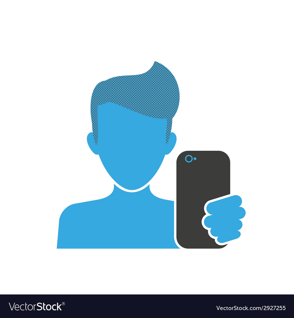 Male selfie blue icon vector | Price: 1 Credit (USD $1)