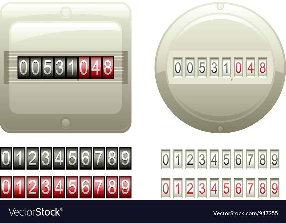 Mechanical counters and digits vector | Price: 1 Credit (USD $1)