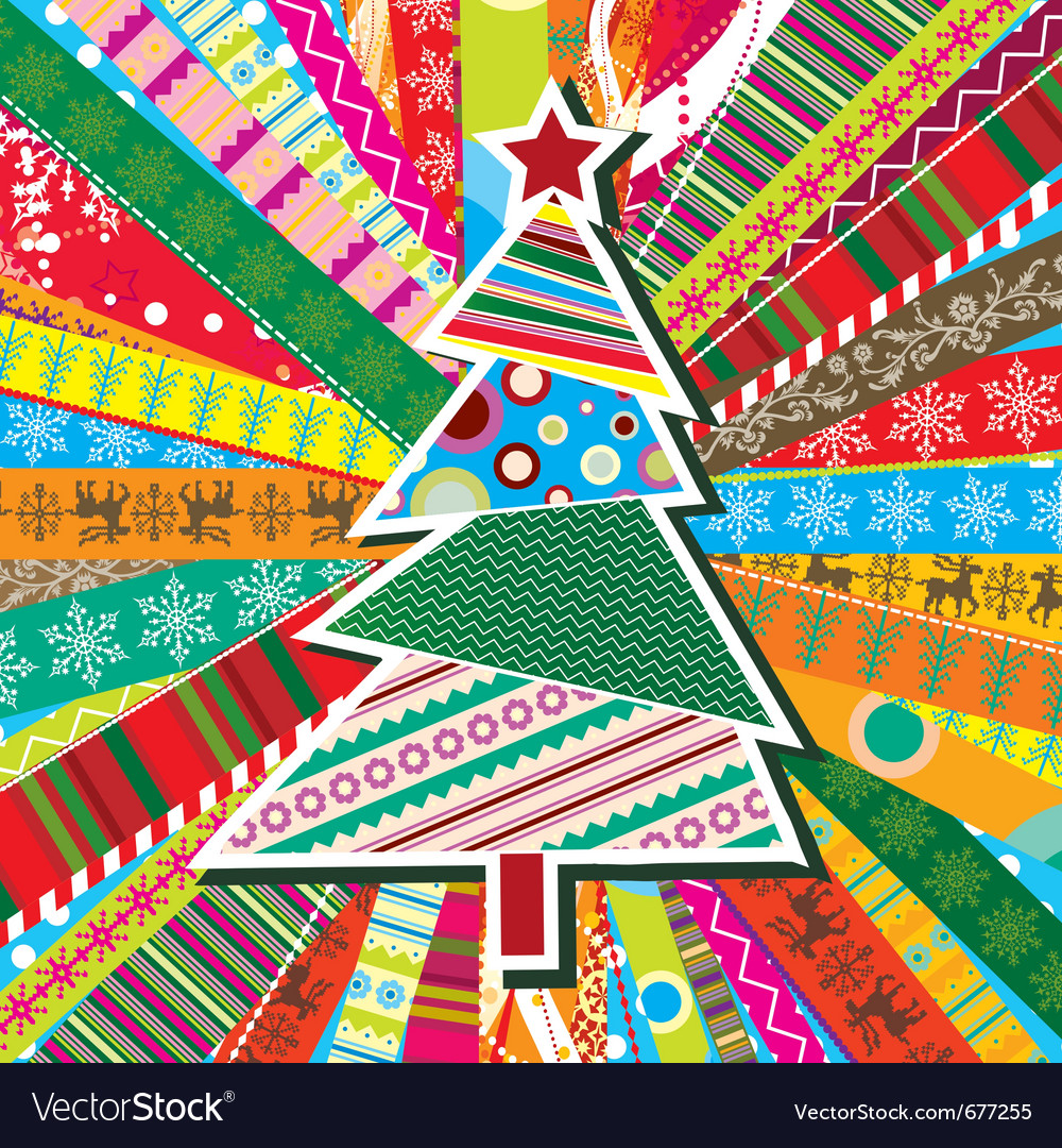 Scrapbook christmas patterns greeting card for des vector | Price: 1 Credit (USD $1)