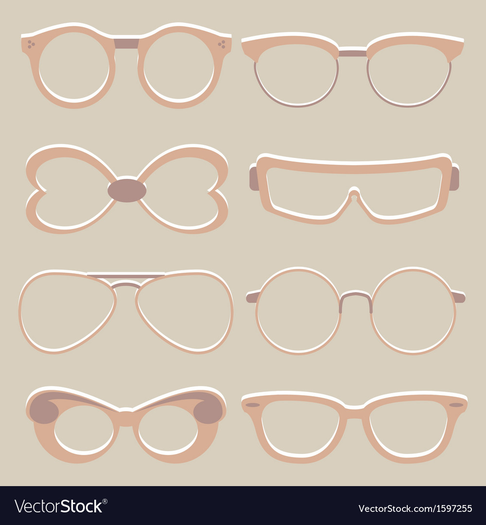 Set of cute glasses vector | Price: 1 Credit (USD $1)