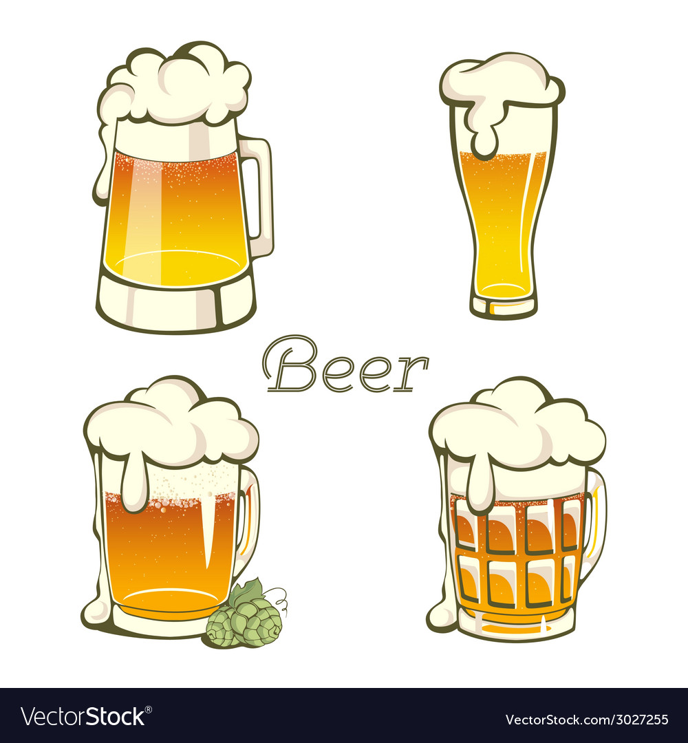Set of vintage beer in glass and mug vector