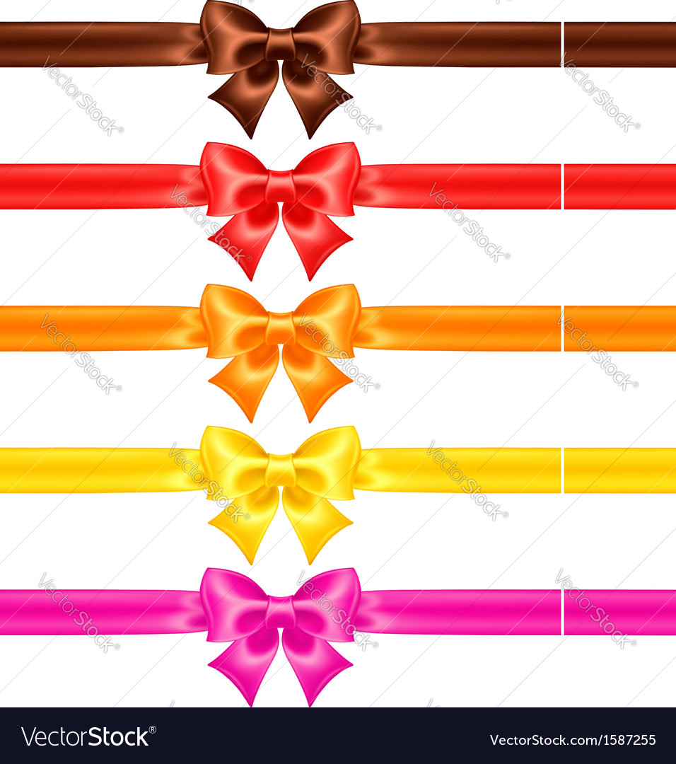 Silk bows in warm colors with ribbons vector | Price: 1 Credit (USD $1)
