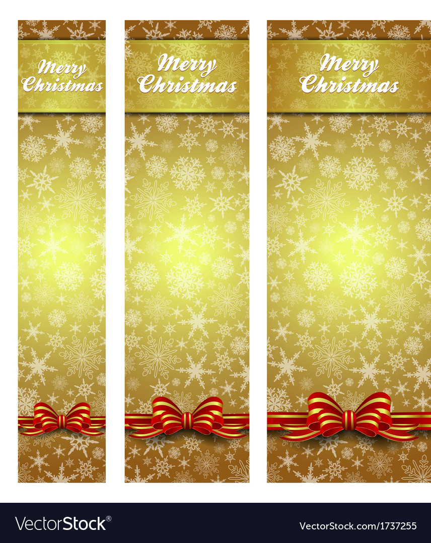 Snowflakes christmas web banners gold vertical vector | Price: 1 Credit (USD $1)