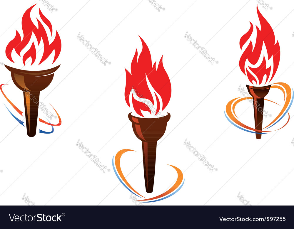 Three torches with fire flames vector | Price: 1 Credit (USD $1)
