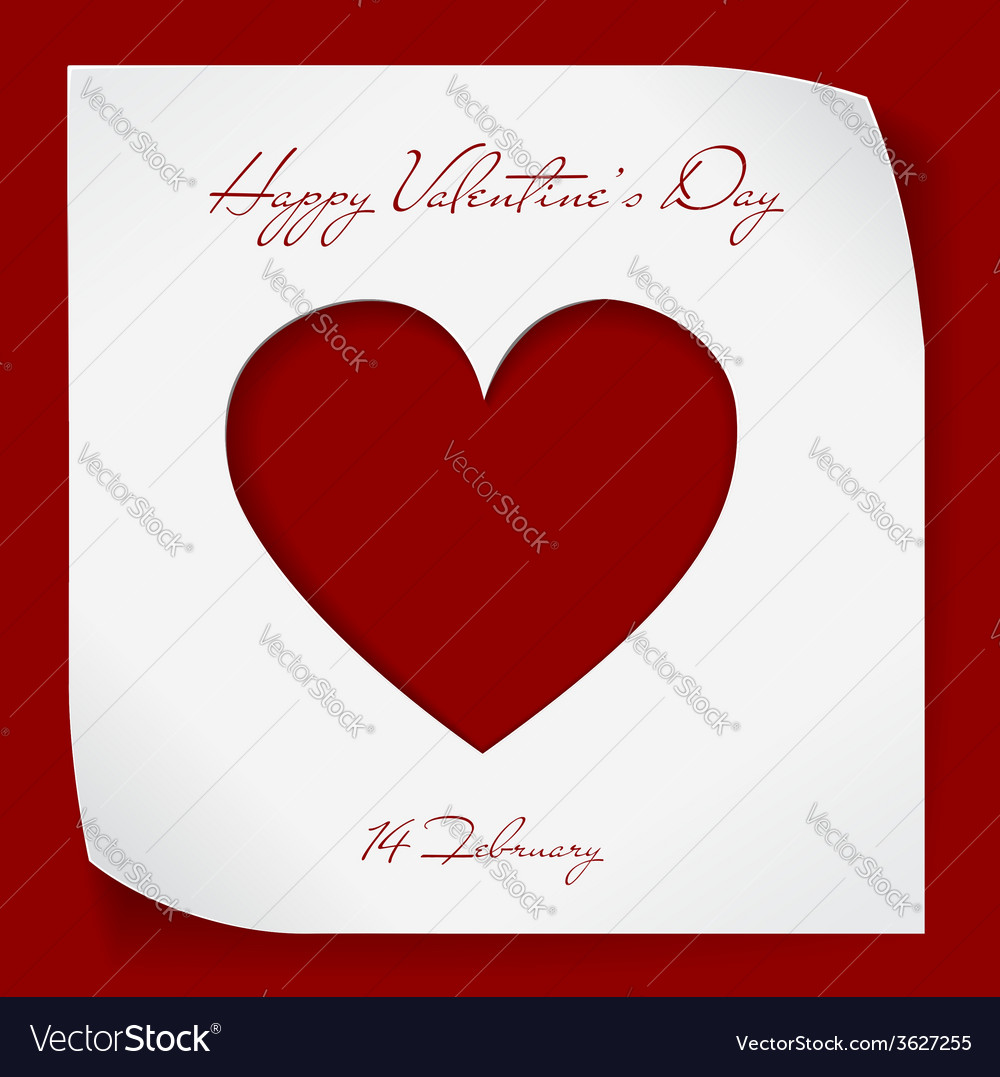 Valentines day paper background with red cutting vector | Price: 1 Credit (USD $1)