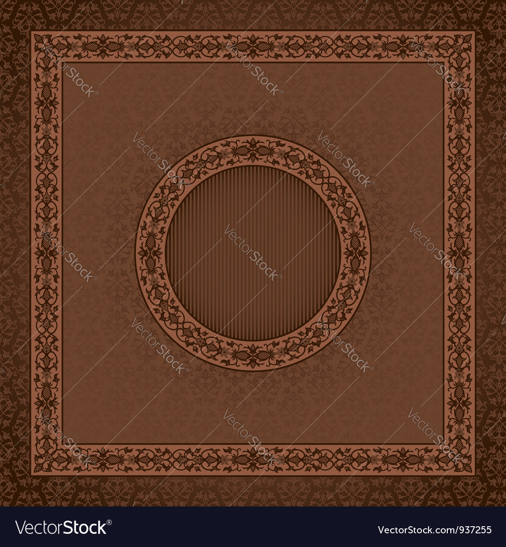 Vintage square card on damask seamless background vector | Price: 1 Credit (USD $1)