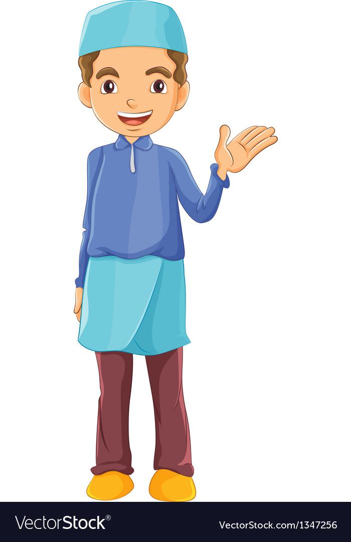 A muslim boy waving his left hand vector | Price: 1 Credit (USD $1)