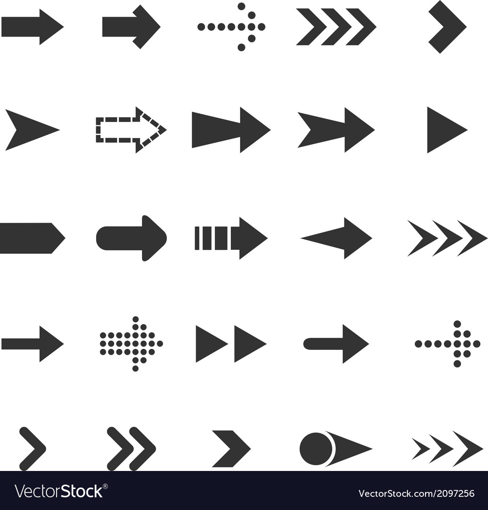 Arrow icons on white background vector | Price: 1 Credit (USD $1)