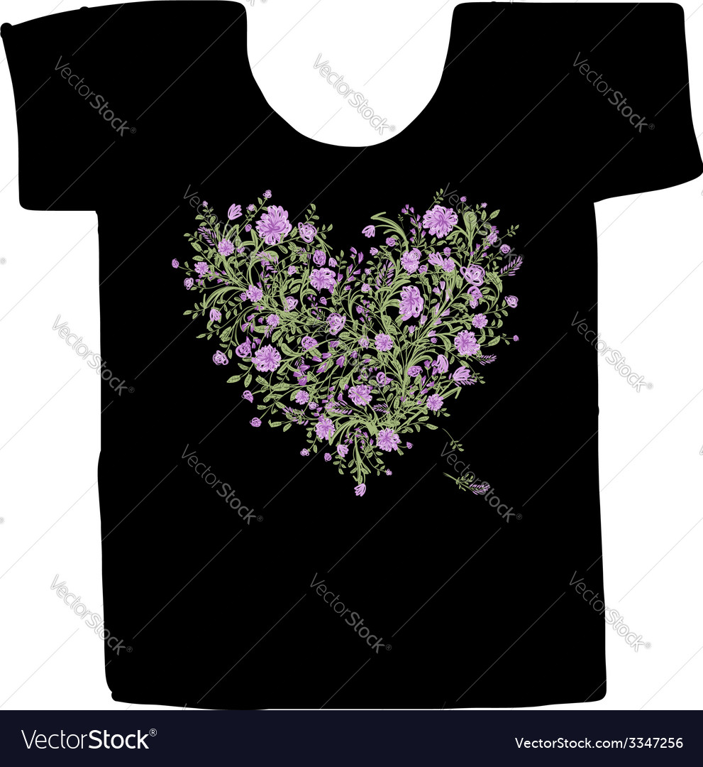 Black tshirt with floral print design vector | Price: 1 Credit (USD $1)
