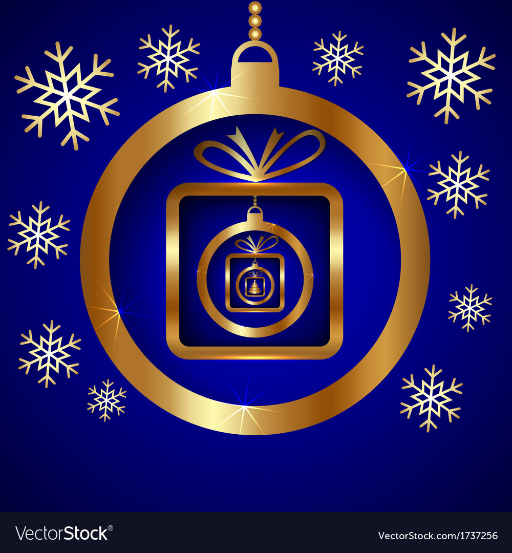 Blue gold decorative christmas greeting card vector | Price: 1 Credit (USD $1)