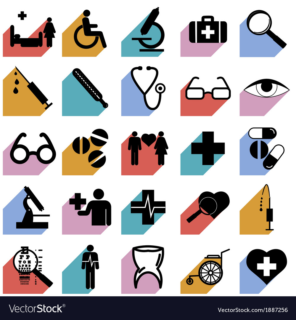 Collection flat icons with long shadow medicine vector | Price: 1 Credit (USD $1)