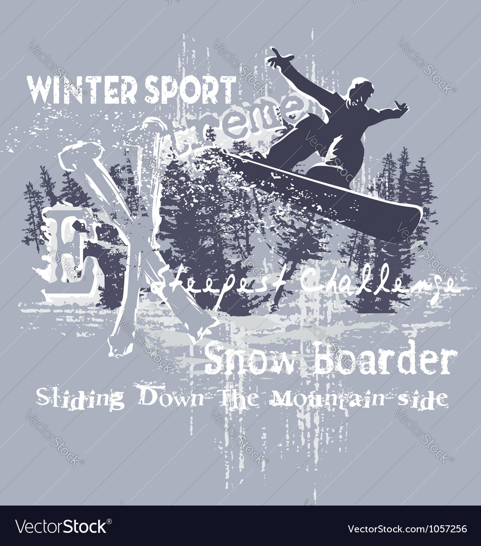 Extreme snow boarder vector | Price: 1 Credit (USD $1)